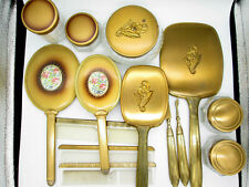 New ListingVintage Lot Dresser Brush Combs Mirror Jars Set Vanity