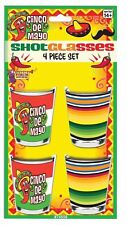 Colorful Cinco De Mayo Shot Glasses Party Supply 4 Pce Set Drinking Hot Pepper