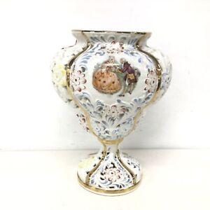 1968 White Hand Painted Decorative Vase Regency Style Woman & Man #403