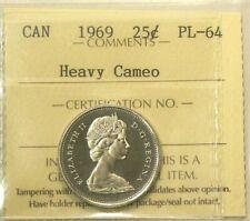 1969 Canada 25 Cents ICCS PL 64 Heavy Cameo  #745