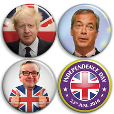 BREXIT - Leave Voters - 4 x Button Badge Set - 25mm 1 inch Boris, Farage, Gove