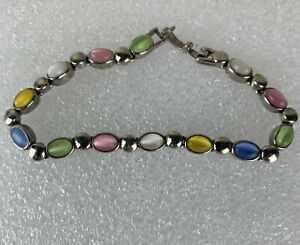 Premier Designs Silver Tone Easter Spring Pastel Cat Eye Glass Cabochon Bracelet