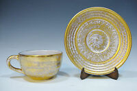 Vintage Stangl Pottery Antique Gold Tea Cup and Saucer