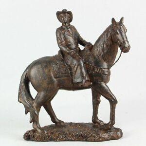 "Bronze Look 9.5"" Cowboy on Horseback Figurine"