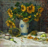 ZOPT1292 100% hand painted charming sunflowers oil painting art on canvas
