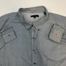 Twenty One Degrees Button Up Shirt Mens 3XLT Blue White Long Sleeve Geometric