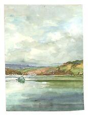 Vintage Unframed Spaniards Tamar Landscape Watercolour Painting M Harrison