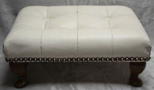 VINTAGE FOOTSTOOL WHITE FAUX LEATHER  POSSIBLY 50 or 60'S