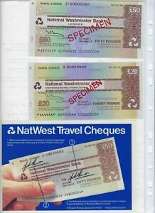 GREAT BRITAIN  NATIONAL WESTMINISTER BANK  SPECIMEN 20,50 POUNDS TRAVELERS