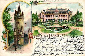 Frankfurt / Main, Farb-Litho, Eschenheimer Tor, Palmengarten, 1903