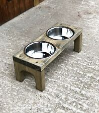 Wooden Dog Bowl Stand - 25cm - Weathered Grey