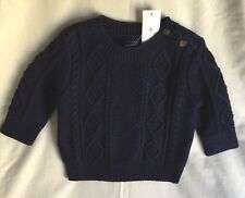 Baby Gap Baby Boy 3-6 Months Cotton Cable Knit Navy Sweatshirt New With Tags