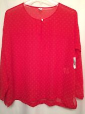 Old Navy Medium NWT Red Geometric Polka Dot Long Sleeve Keyhole Peasant Blouse