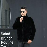 Men's Faux Mink Fur Jacket Stand Collar Hooded Slim Fit Winter Warm Zipper Coat