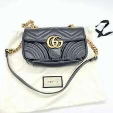 Gucci GG Marmont 2.0 Matelassé Mini Black Leather Crossbody Shoulder Bag