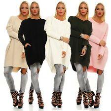 11042 Damen Longpullover Strickkleid Pullover Long Strick Oversize-Pullover