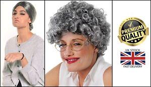 Gangsta Granny Grandma Red Riding Hood Afro Wig Grey Bun Old Lady Fancy Dress