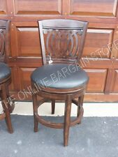"""Frontgate Wood Leather Kitchen Dining COUNTER 24"""" Height Stool Barstool Chair"""