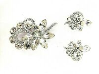 Eisenberg Ice Matching Brooch/Clip Earrings Signed Vintage Rhinestone Jewelry