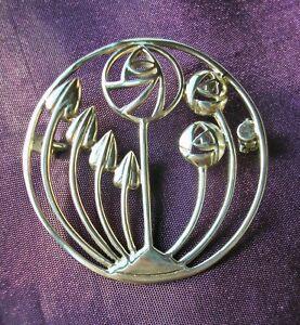 Beautiful round Sterling Silver Rennie Mackintosh design brooch Glasgow Roses +