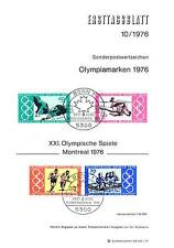FRG 1976: Olympic Summer games! First day sheet the No.1 886+887 + Block 12!
