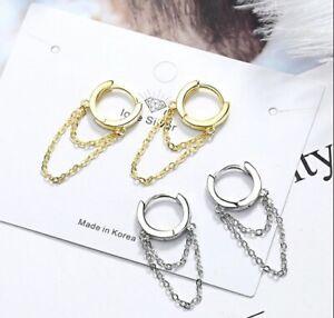 Seday Jewels 925 Silber Ketten Ohrringe Damen, Creole, Creolen, 925er, Gold