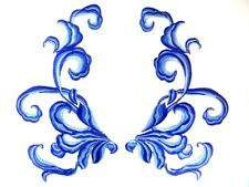 """Blue Embroidered Appliques Dance Costume Mirror Pairs Patch 11"""" GB289X"""