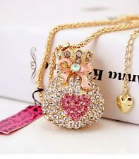 Betsey Johnson Necklace  HEART Gold Pink Heart Bag Money Bag Crystals