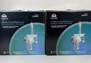 Spectra Swarovski Light Crystal Wall Sconce Polished Chrome Finished Set of 2