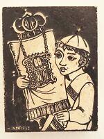 Rodney Winfield - Boy w/ Torah Carving on Marble Plaque Judaica Jewish Art