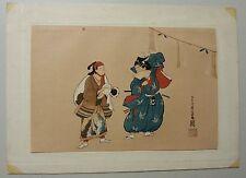 """Antique Japanese Woodblock Print Ukiyoe """"Manzai"""" by Miyagawa Choshun NICE!"""