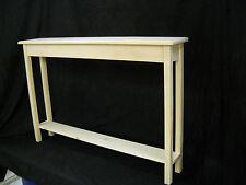 """Unfinished 46"""" Narrow Console Sofa Foyer, Beveled Edge Pine Table w/Shelf"""