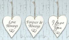 Whitewashed Oak Wood Heart Shape Hanging Sign Plaque - Choice of Love Sentiments