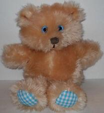 "Russ Bandito Gingham Teddy Bear 10"" Plush Stuffed Tan Teal Blue Eye 393"