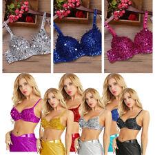 Hot Women Beads Sequins Belly Dance Bra Top Ladies Nightclub DJ Disco Costume