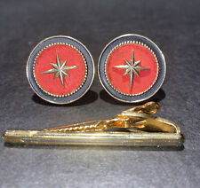 Face Gold-Toned Cufflinks With Tie Clip Vintage Swank Signed Red Northern Star