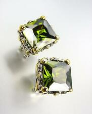 CHUNKY Designer Silver Gold Balinese Filigree Olive Green CZ Crystal Earrings