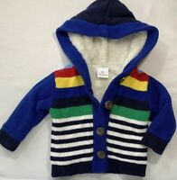Hanna Andersson 3-6 Months Boys Blue Striped Sherpa Lined Cardigan Sweater 60 cm