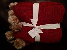 POTTERY BARN FAUX FUR POM POM THROW CARDINAL RED BLANKET 50 x 60 Christmas NWT