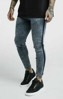 Sik Silk Mens Super Skinny Stretch Distress Ankle Stripe Acid Wash Denim Jeans