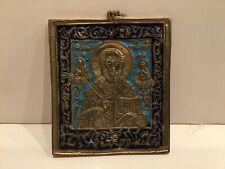Antique 19 century Russian Bronze Blue Enamel Icon Saint Nicholas
