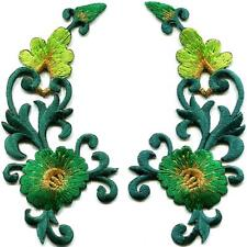 Green trim flowers boho art deco appliques iron-on patches pair new S-1214