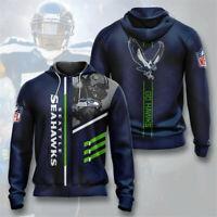 Seattle Seahawks Men's Hoodie Full Zip Hooded Sweatshirt Casual Jacket Coat gift