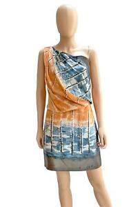 Robert Rodriguez Women's Abstract Print Silk One-Shoulder Cocktail Dress Size 4