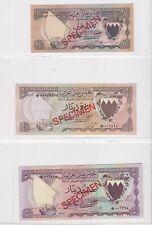 BN9) Bahrain 1978 set of 7 Unc. SPECIMEN Banknotes 100 Fils – 20 Dinars