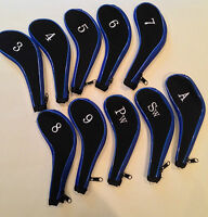 10 Neoprene JL Golf Club Headcovers Head Cover Iron Protect Set blue black
