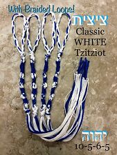 TZITZIT SET OF 4 Tzits WHITE/BLUE YHWH Tsitsit Torah 10-5-6-5 Knots