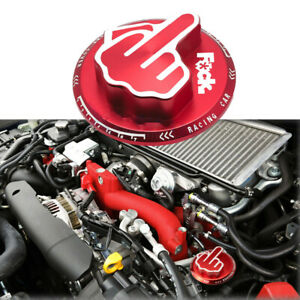 Red Aluminum Middle Finger Engine Fuel Oil Filter Tank Cap Cover For Nissan GT-R