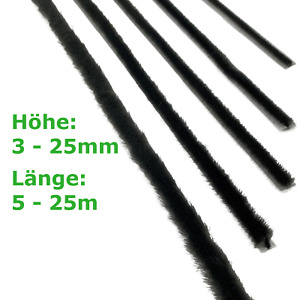 5-25m selbstklebende Bürstendichtung Höhe=3-25mm Grau Dichtungsbürste Türbürste