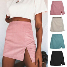 UK Womens Split Sexy Corduroy Skirt Plain A-Line High Waist Casual Mini Short